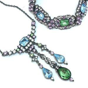Multicolor Vintage Crystal Necklace & Bracelet Set